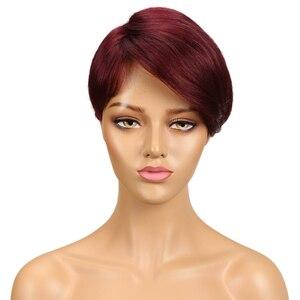 Image 2 - Perruque complète Machine pour femmes noires, perruque brésilienne complète Remy rapide, cheveux humains courts, brun, 100%, perruque coupe Pixie, bon marché