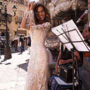 Image 5 - Long Sleeves Double Shoulder Appliqued Lace Wedding Dresses 2019 Mermaid/Trumpet Train Illusion bridal gown dress