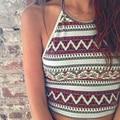 Новинка женщин лето короткое корсет жилет блузка старинные картины печать полоса крохотных топах сексуальные бюстье Bralet кадрированные топ