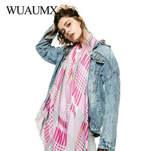 Wuaumx Foulard Femme Spring Scarf Women Multicolor Plaid Scarf For Ladies Head Scarves Thin Satin Hijab Neckerchief Shawls Wraps цена