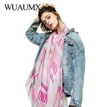 Wuaumx Foulard Femme Spring Scarf Women Multicolor Plaid For Ladies Head Scarves Thin Satin Hijab Neckerchief Shawls Wraps