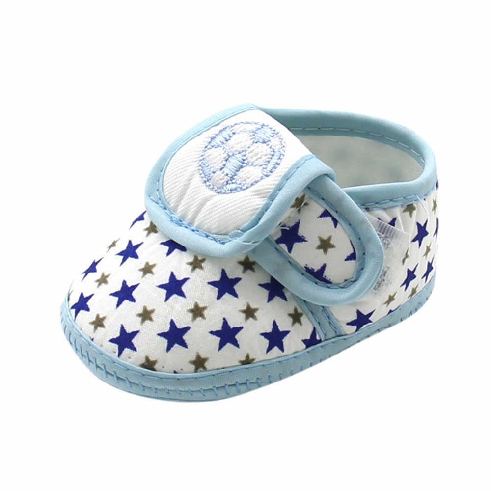 Suela suave zapatos de bebé de algodón Zapatos recién nacido chicos chicas estrellas en primer lugar los caminantes niño Prewalker caliente zapatos planos ocasionales zapatos # 5L
