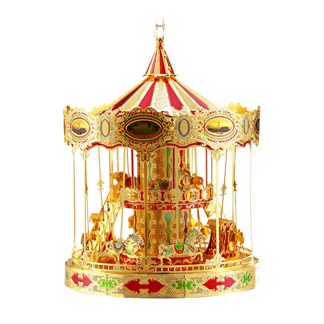 WMX 3D Puzzle Metal Toys Piececool P082-GRN Merry Go Round Puzzles Model Carousel Assembling Model For Adults Kids Toys Gold