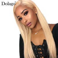613 Lace Front Human Hair Wigs Bob Honey Blonde 180% Straight 360 Lace Frontal Wig Pre Plucked With Baby Hair Full Dolago Remy
