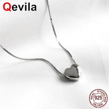 317835e17a85 Qevila nueva moda collares Real de la forma del corazón de la plata  esterlina 925 Simple