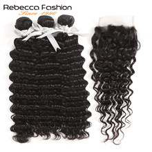 Rebecca Brazilian Deep Wave Bundles With Closure Free Part 3 4 Bundles With Closure Non Remy Human Hair Bundles With Closure(China)