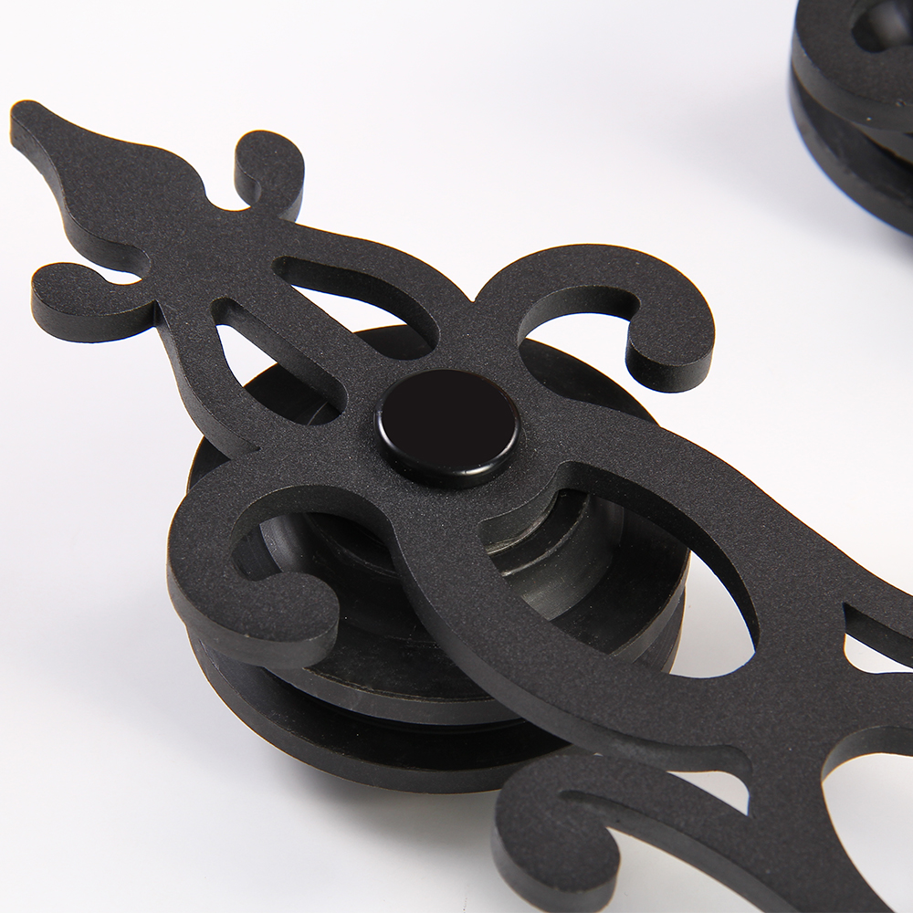 Купить с кэшбэком LWZH Sliding Barn Door Hardware Kit Black Steel Blossom Shaped Track Roller Closet Door Hardware Kit for Double Door 7FT/8FT/9FT