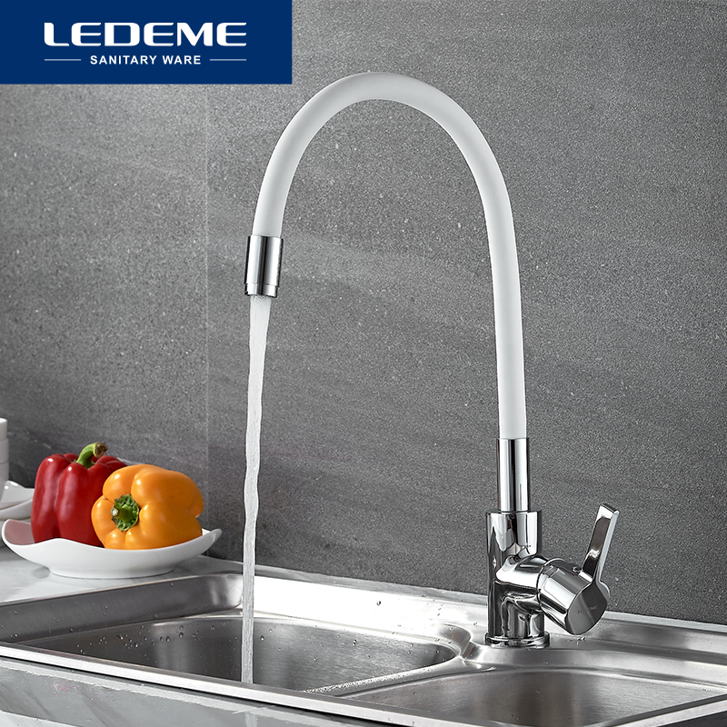 LEDEME Pull Out Kitchen Faucet Water Save Rubber Tube Cold Hot Water Mixer Single Hole Rubber Tube Contemporary Faucet L4898-3