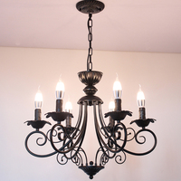 American Country Living Room Dining Room Black Chandelier Cafe Restaurant Lighting Bedroom Wrought Iron Retro Candle Chandeliers
