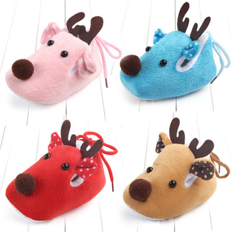 Lovely Toddler First Walkers Baby shoes Deer Prints Round Slip-On Soft Slippers Shallow Christmas Gift Footwear For Newborns toddler baby shoes infansoft sole shoes girl boys footwear t cotton fabric first walkers s01