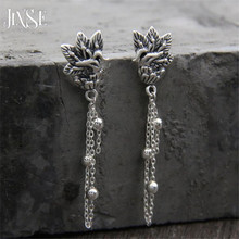 JINSE Hot Fashion S990 Thai Silver Vintage Classical Peacock Pendant Drop Earrings For Women Party Jewelry Accessories 11*17MM 2018 top fashion sale agate s990 peacock peacock cloud chalcedony agate long silver chain sweater pendant wholesale
