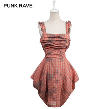 PUNK RAVE Spaghetti Strap Casual Woman Double Color Dress Gothic Style 100% Cotton Sleeveless Plaid Summer Dresses(China)