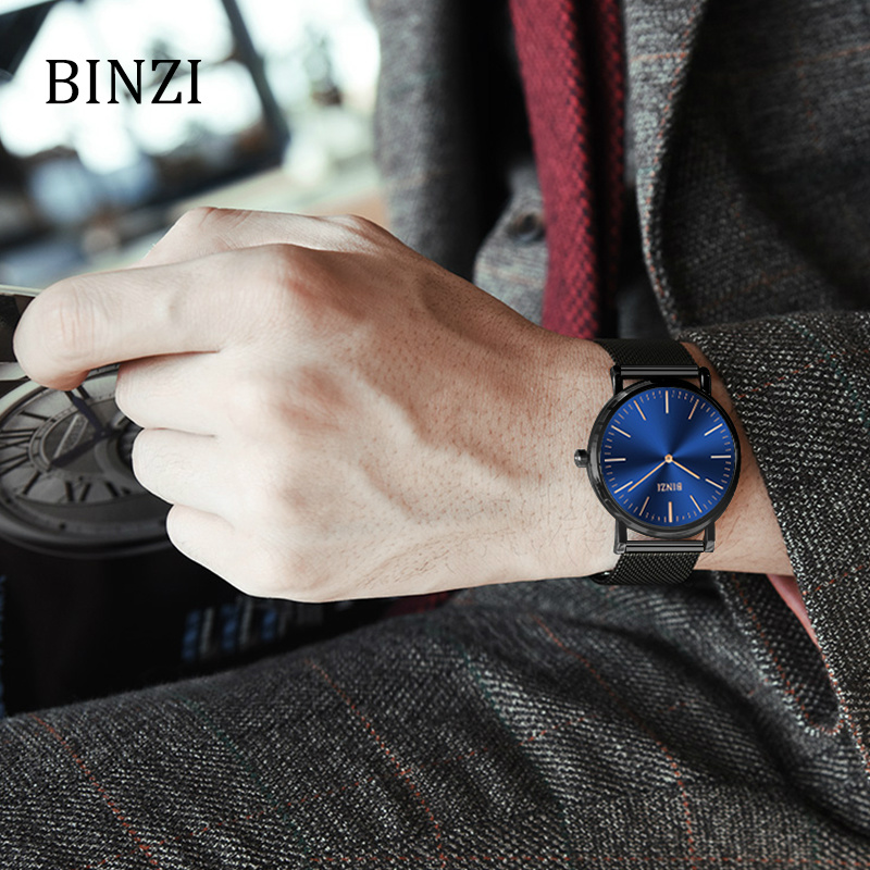 BINZI Men Watches Top Brand Luxury Watch Thin Stainless Steel Mesh Band Quartz Wristwatch Male Fashion Casual Modern Black Watch top brand julius men watches luxury stainless steel mesh band gold watch man business quartz watch male wristwatch relogio homme