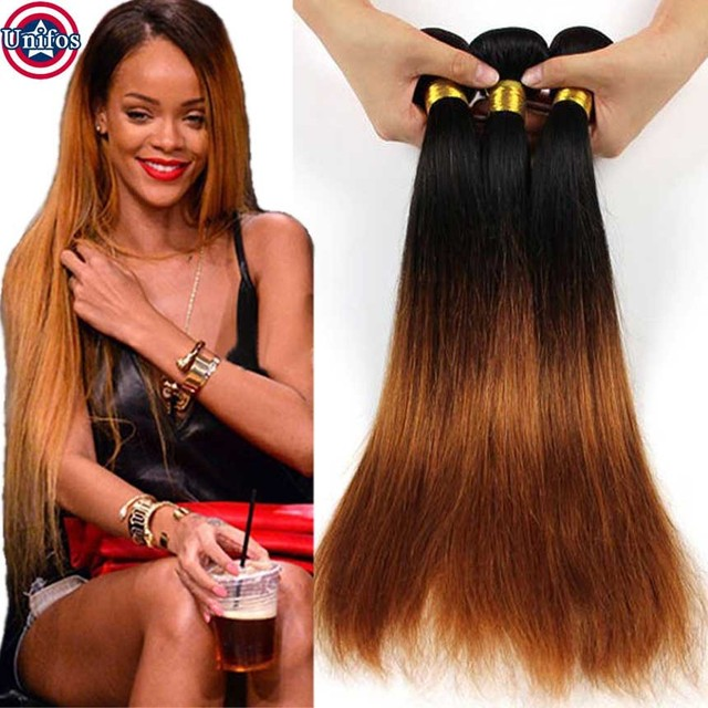 Brazilian Ombre Hair Extensions Straight Two Tone Human Hair Weave