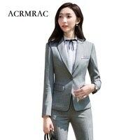 ACRMRAC Women suits Solid color Slim jacket Suit pants OL Formal Women pants suits Womens business suits 910
