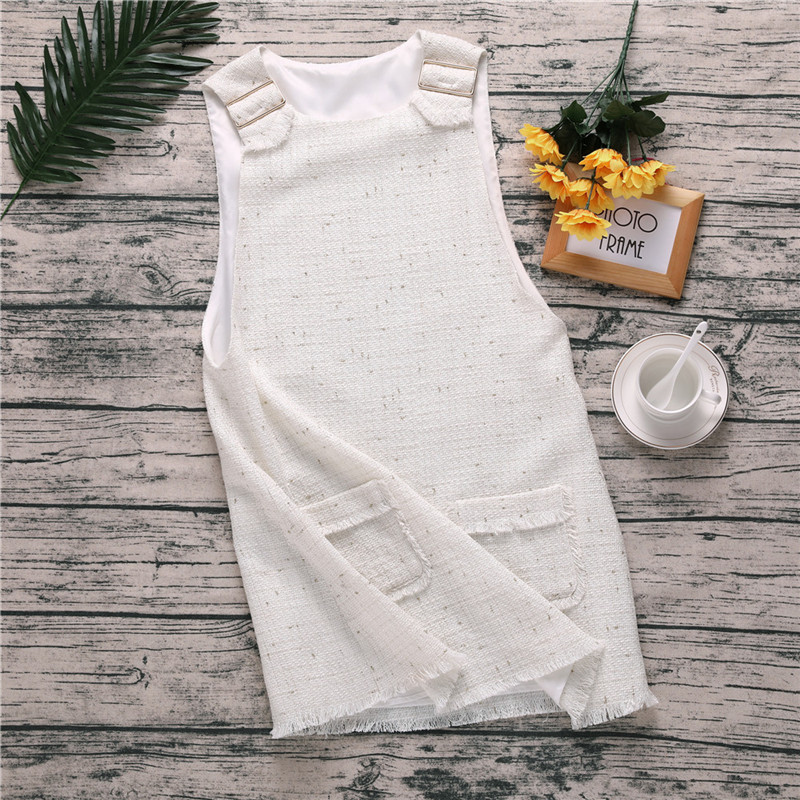 c414074e7c US $16.21 49% OFF|Women White Tweed Casual Tank Dress Sweet Sleeveless  Pockets Short Mini Dresses Female Evening Plus Size Party Dress chifave-in  ...