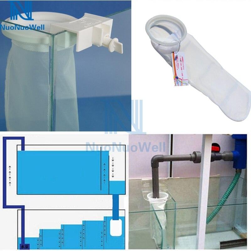 NuoNuoWell 4-дюймовый аквариумный морской фильтр, отстойник, микрон, нейлоновый держатель для носков, держатель для аквариума, сетчатый мешок, оч...