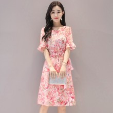 Summer New Bohemian Slim Temperament Floral Dress Half Sleeve Trumpet Sleeve Belt Beauty Temperamental Woman Dress plus trumpet sleeve flare floral dress