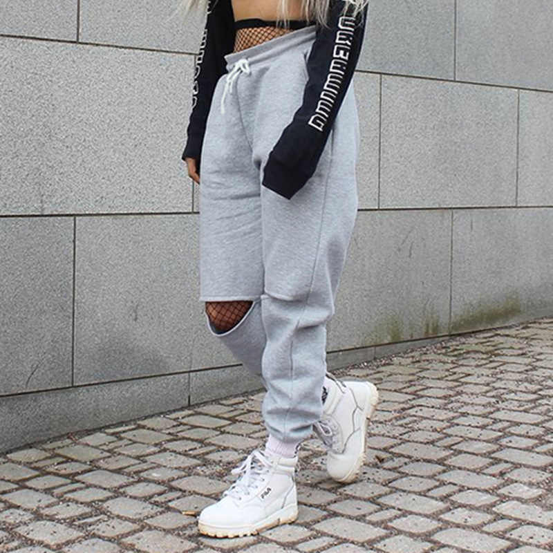 89bc2a7fb1 Women Loose Baggy Trousers Fashion 2019 Spring Grey Solid Distress Joggers  Sweatpants Ripped Hiphop Dance Pants