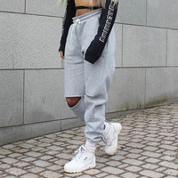 Women Loose Baggy Trousers Fashion 2017 Autumn Winter Grey Solid Distress Joggers Sweatpants Ripped Hiphop Dance