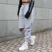 Mulheres Calças Largas Soltas Moda 2018 Primavera Cinza Sólida Angústia Corredores Sweatpants Rasgado Calças De Dança Hiphop Plus Size