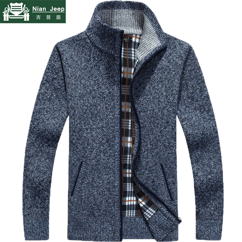 2019 Autumn New Men's Thick Sweatercoat Stand Collar Zipper Sweater Coat Outerwear Winter Fleece Cashmere Striped Liner Sweaters