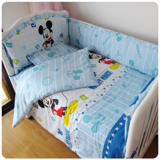 Promotion! 9PCS full set cot baby bed linen 100% cotton boy/girl crib bedding sets,4bumper/sheet/pillow/duvet promotion 9pcs full set cot baby bed linen 100