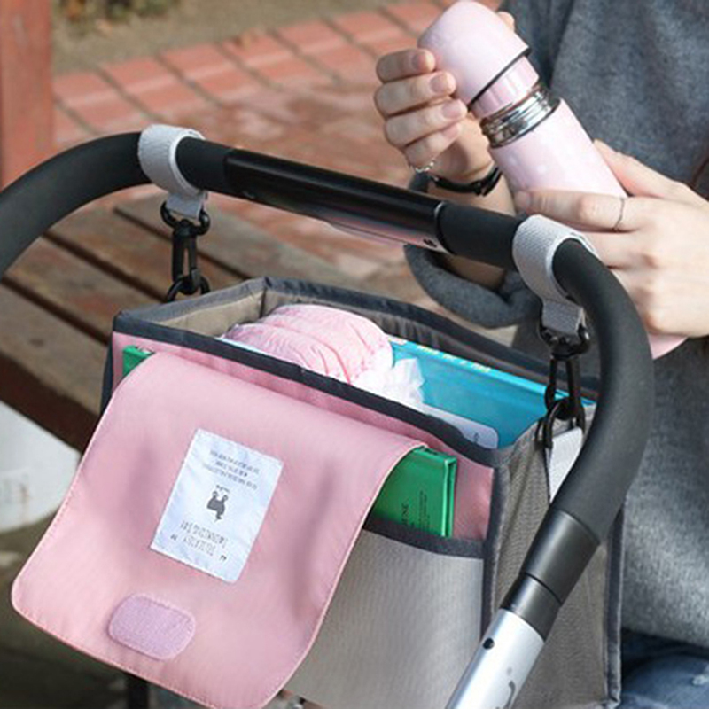 Baby Stroller Bag Nappy Diaper Mummy Bag Hanging Basket Storage Organizer Baby Travel Feeding Bottle Bag Stroller Accessories