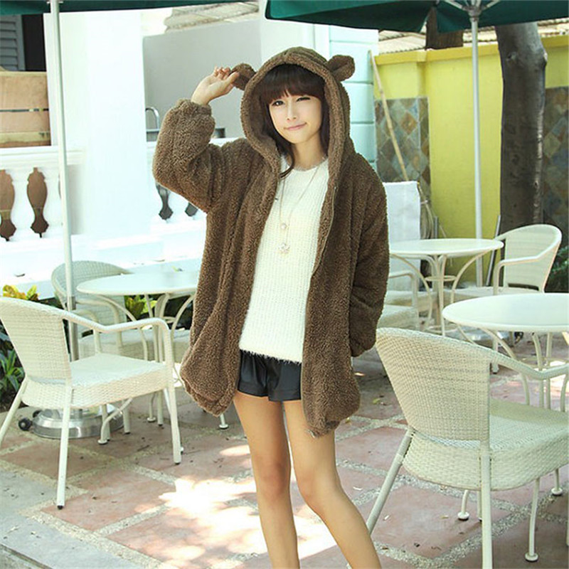 2019 Spring Coat Women New Cute Little Bear Or Bunny With Ears And Tail Cartoon Plush Coat Hooded Sweatshirt