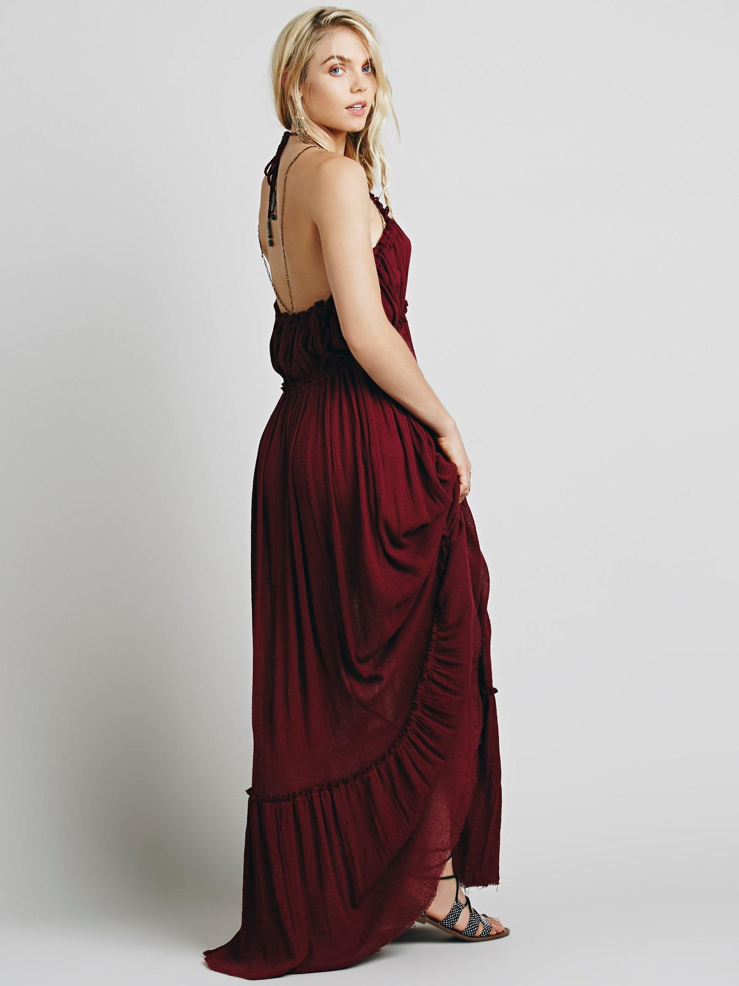 Beauty Backless V-Neck Long Dress 9