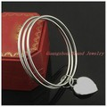 Top Design 316L Stainless Steel Silver Round Bangle High Polishing Heart Jewelry Womens Lasies Bracelet Wholesale/Retail!