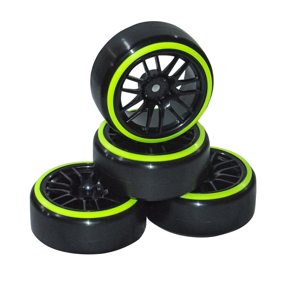 1//10 RC Car Drift Tire Tires /& Purple Wheel Rim 12mm Hex 4 HSP HPI Racing ETC
