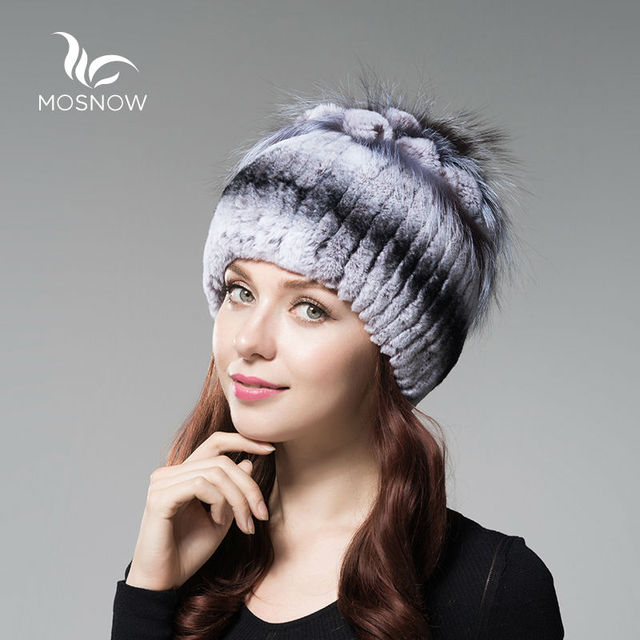9376a2f9980 MOSNOW 2018 Fashion Winter Hats For Women Ladies Knitted Rex Rabbit Fur  With Flower Cluster Fox