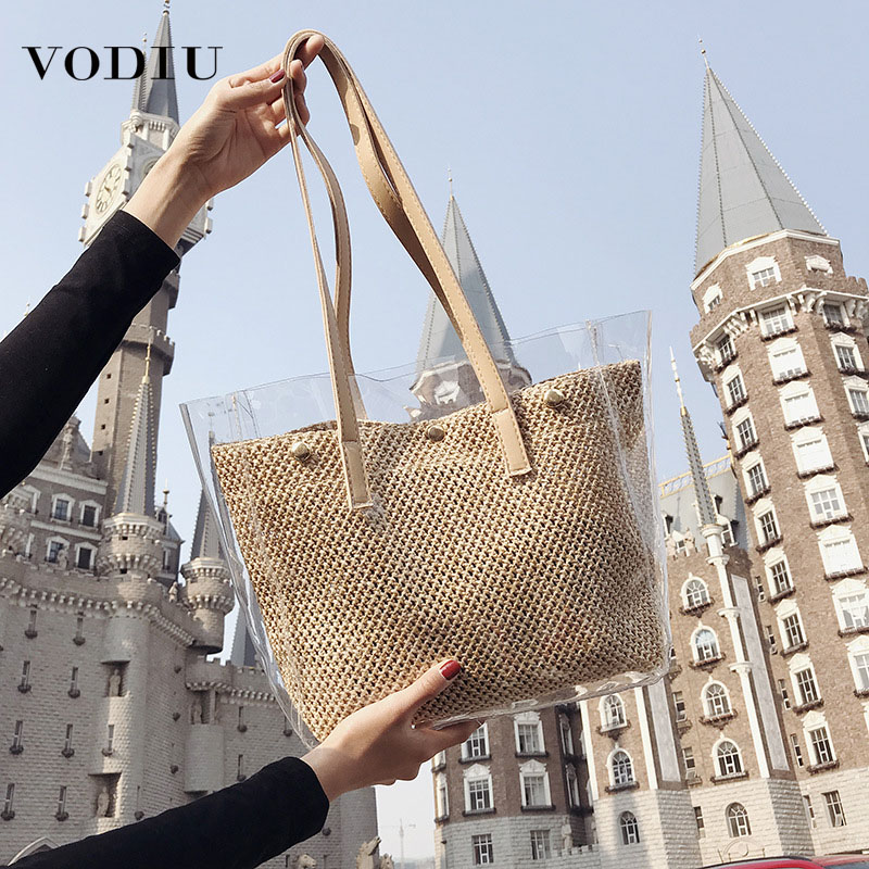 Women Handbag Female Shoulder Bag Jelly Hot Sale 2019 New Large Capacity Sequins Transparent Summer Children Straw Beach Bags