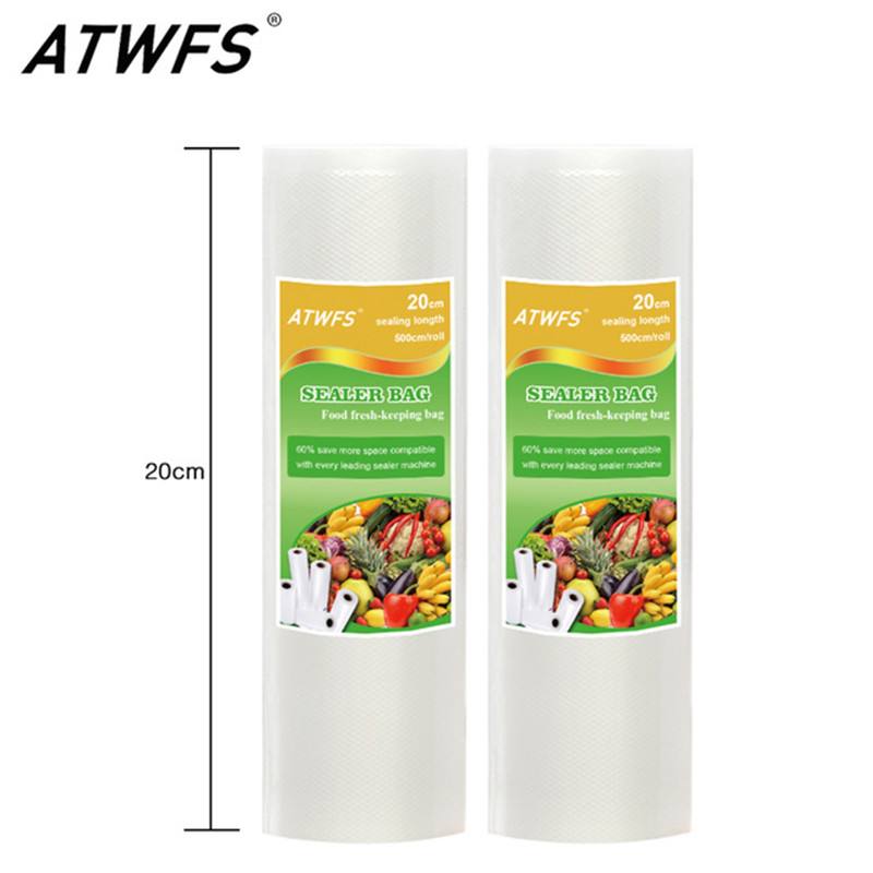 ATWFS Food Grade Vacuum bag roll 20x 500cm Vacuum Bag for food storage Vacuum food sealer Bags Packing Film Keep Fresh 2PCS 100g bag etythrosine food grade usa imported