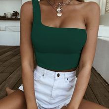 One Shoulder Crop Tops Sleeveless T-Shirt Tank Tops Summer Beach Vest Bare Midriff Summer Fashion Clothes