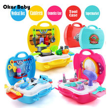 9 Styles Simulation Kitchen Toys Set BBQ Children Pretend Play Educational Tool Box Pack Kids Doctor Toy Make Up Toy Set(China)