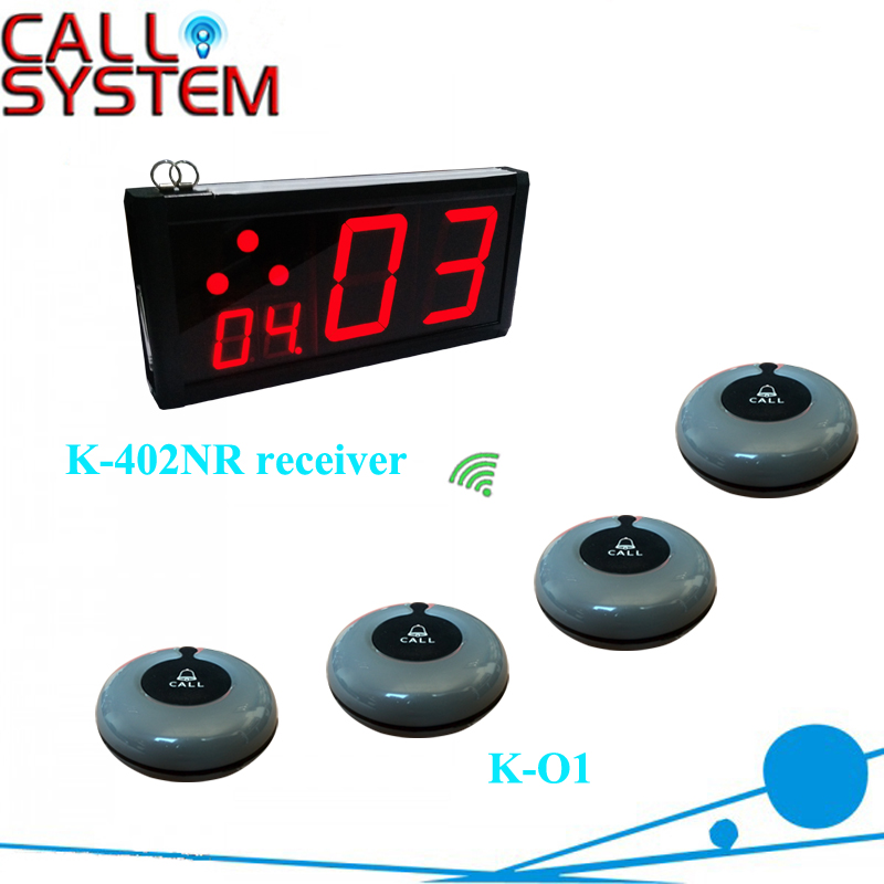 Electronic pager wireless calling system 1 display K 402NR with 15 bell buzzer K O1 for server
