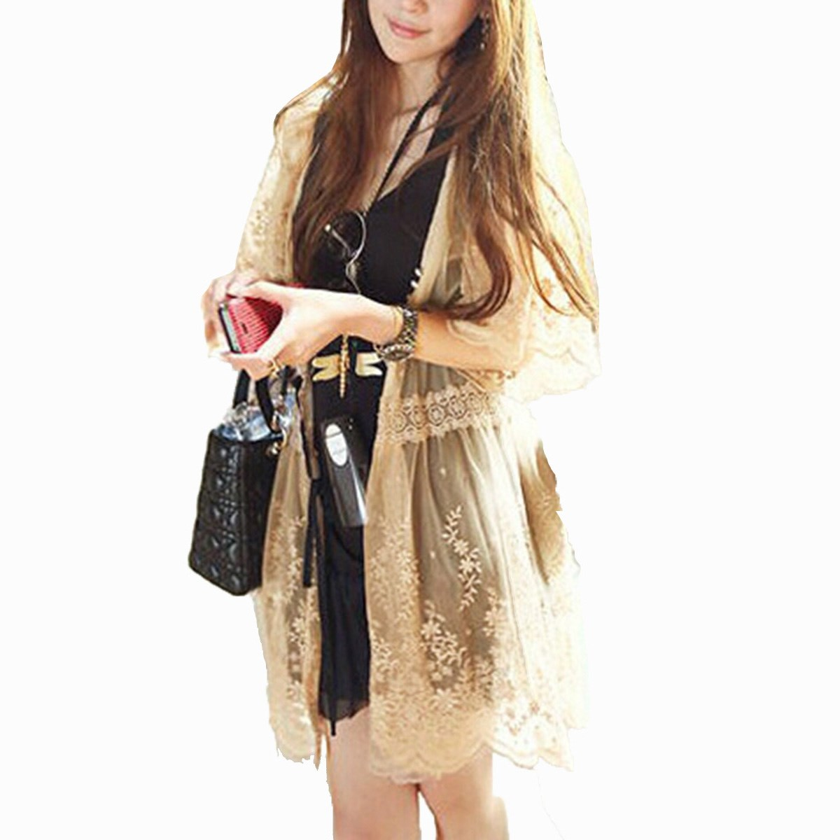 Long lace cardigan - Blusas 2017 Autumn Women Vintage Sheer Lace Floral Crochet Casual Loose Kimono Long Cardigan Blouse Tops