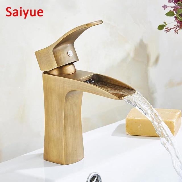 Waterfall Antique Brass Finish Bathroom Basin Kitchen Vessel Sink