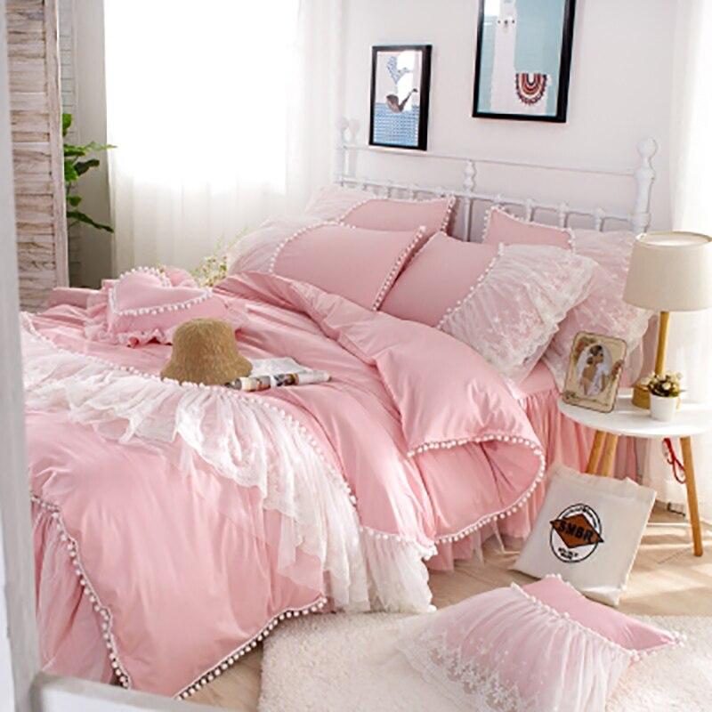 Textiles de luxe dentelle blanc Rose couette été Cool ensembles de literie linge de lit cadeaux princesse chambre cadeaux de noël jupe de lit 4 pièces