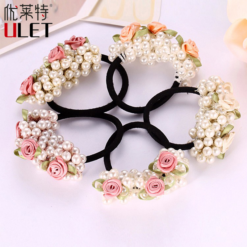 New Arrival Girls Gum Imitation Pearl Hair Rope Bead Multilayer Elegant Hair Accessories Flower Rubber Band Girl Ponytail Holder