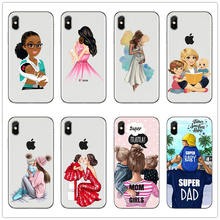 Black Brown Hair Dear Baby Mommy Girl son Queen 01 Phone Case cover For iPhone 7 6 6s Plus X XS XR 8 5s SE Silicone Woman coque(China)