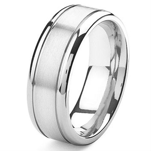 tailor made white gold color grooved cobalt chrome wedding band ring size 4 17 whole - Cobalt Wedding Rings