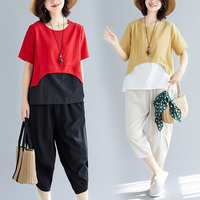 Casual Pullover Two Piece Set Top And Pants O neck Pastel Women's Summer Suit Fashion Literary Year old Female Costume