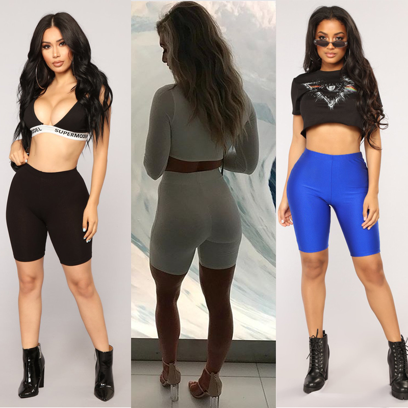 2019 New Brand Cotton Elastic High Waist Shorts Solid Pure Color Women Girl Sports Fitness Shorts Workout Beach Casual