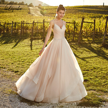 Liyuke Vintage Pleat Tulle A-Line Wedding Dress V-Neckline With Backless And Buttons 2019 Gown