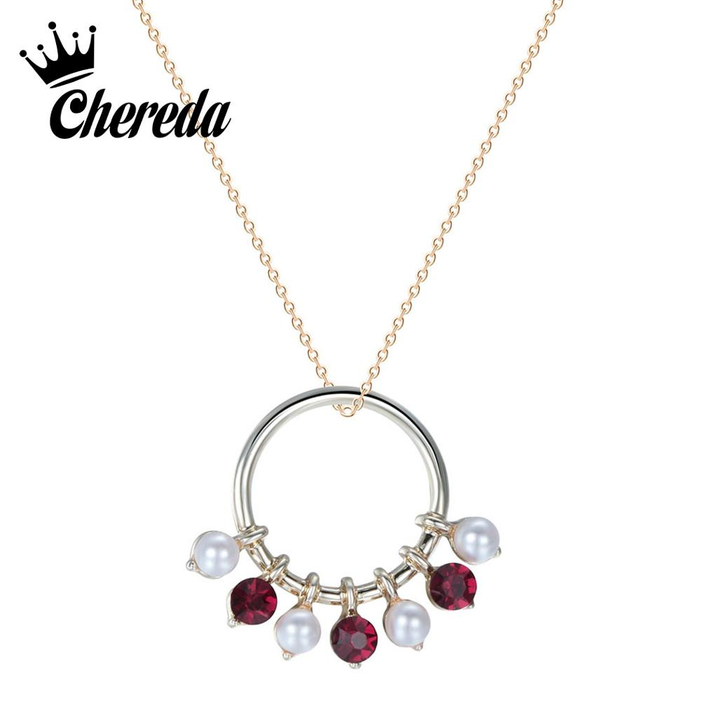 Chereda Handmade Crystal Hollow Round Necklaces Gold Silver Delicate Chain Women Necklace Classic Jewelry