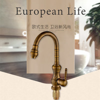 Free Shipping 360 Degree Rotation Antique Kitchen Sink Faucet With Top Quality Bronze Kitchen Faucet And