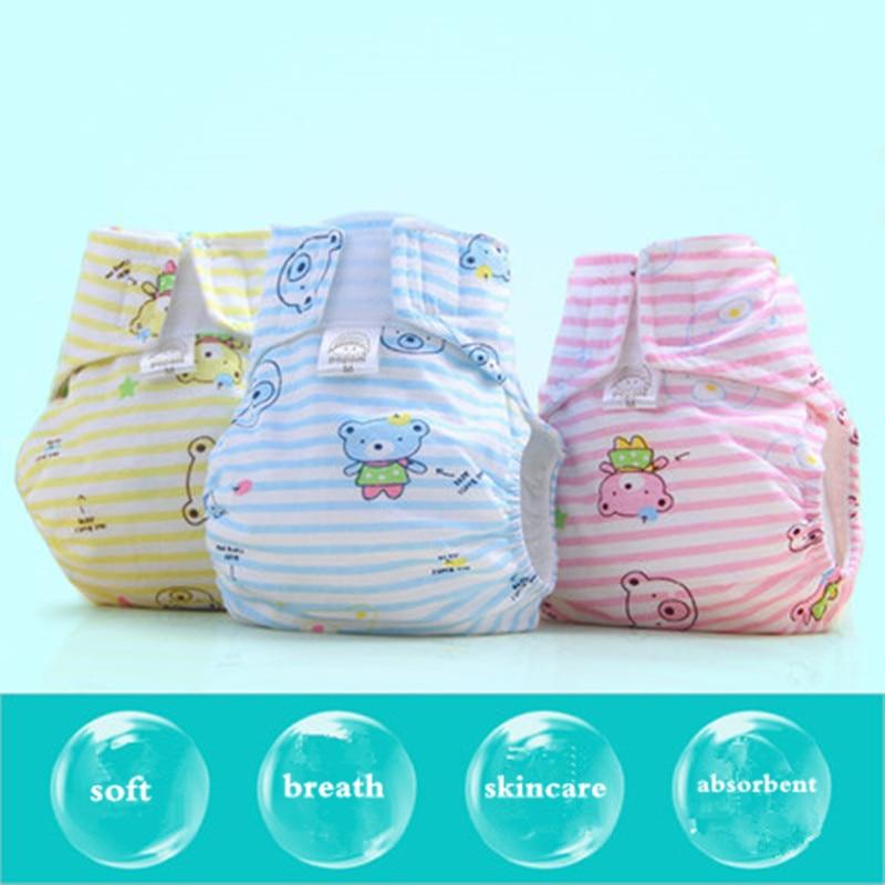 3 unids / lote 0-18 M Cubierta de Pañal de Bebé Lavable Bebé de Pañales de Dibujos Animados A Prueba de agua Impermeable Pañales de Bebé Traje de Paño de Algodón Reutilizable
